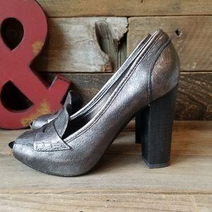 ApepaZZa Sexy LYON Metallic Leather Peep Toe Shoes